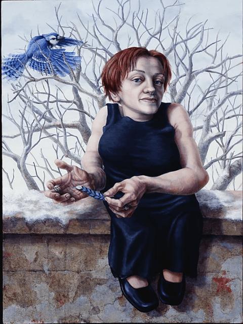 ציור אישה על חומה