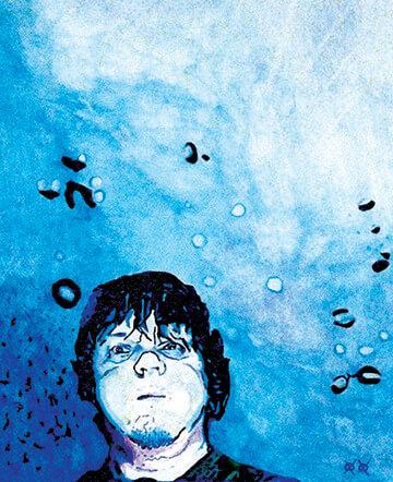 ציור של נער עם רקע כחול