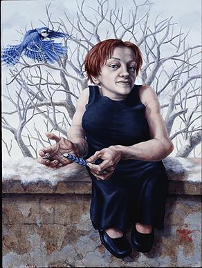 ציור של אישה יושבת על גדר