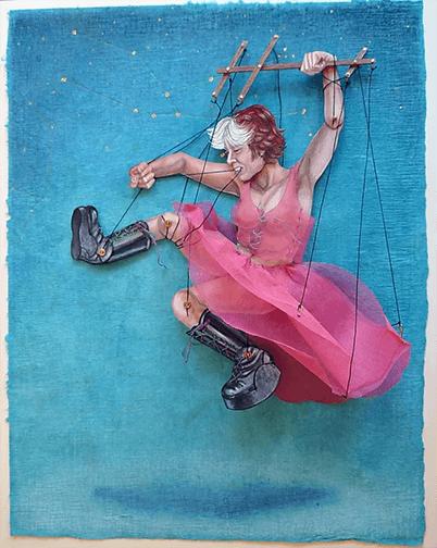 ציור אישה בתנועה עם רקע כחול